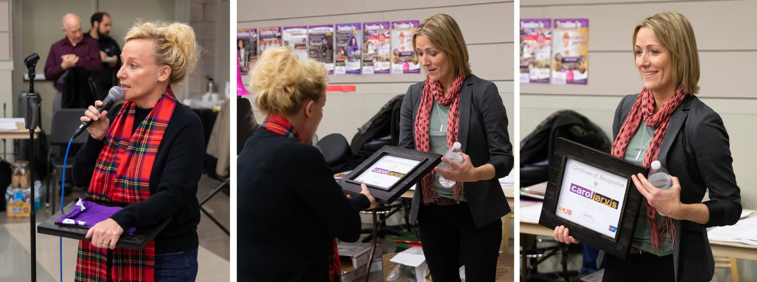 Natalie Massing of the American Cancer Society welcomes warrior/survivor Carol Jarvis to Harrisonburg, VA.